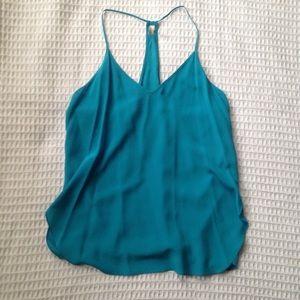 Rory Beca turquoise silk size slit tank top Medium